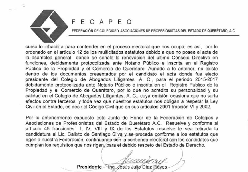 Photo of Junta de Honor retira candidatura de Calixto para vicepresidencia de FECAPEQ